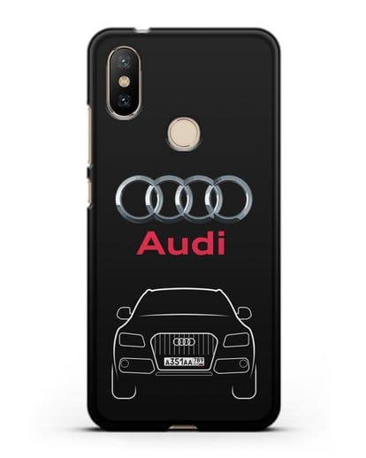 Чехол Audi Q5 с номерным знаком силикон черный для Xiaomi Mi A2