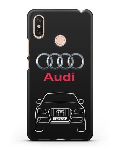 Чехол Audi Q5 с номерным знаком силикон черный для Xiaomi Mi Max 3