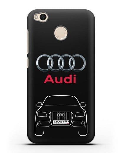 Чехол Audi Q5 с номерным знаком силикон черный для Xiaomi Redmi 4X