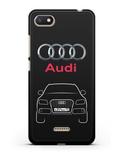 Чехол Audi Q5 с номерным знаком силикон черный для Xiaomi Redmi 6A