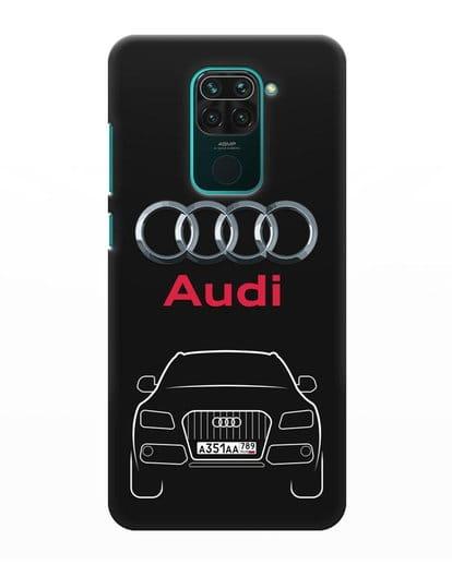 Чехол Audi Q5 с номерным знаком силикон черный для Xiaomi Redmi Note 9