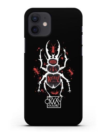 Чехол Жук в муравейнике Oxxxymiron силикон черный для iPhone 12