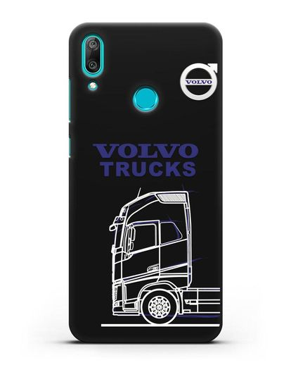Чехол с изображением Volvo Trucks силикон черный для Huawei Y7 2019