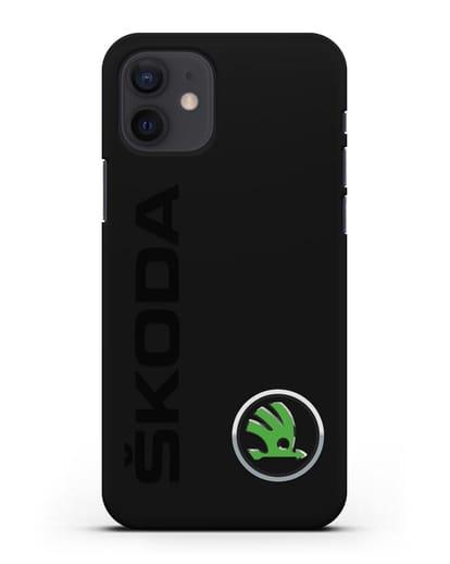 Чехол с надписью Skoda и логотипом силикон черный для iPhone 12