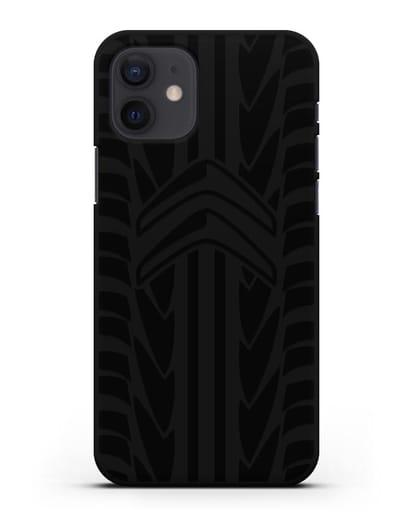 Чехол c эмблемой Citroen с протектором шин силикон черный для iPhone 12