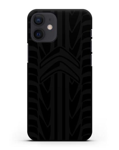 Чехол c эмблемой Citroen с протектором шин силикон черный для iPhone 12 mini