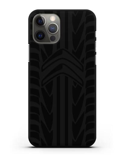 Чехол c эмблемой Citroen с протектором шин силикон черный для iPhone 12 Pro