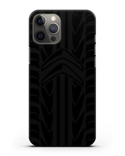 Чехол c эмблемой Citroen с протектором шин силикон черный для iPhone 12 Pro Max